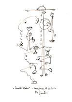"""""""Verwehte Blätter"""" Originalgrafik. Sayalonga, 19.06.2013. Größe b 21,0 cm * h 29,7 cm. Zeichnung mit Textilfarbe auf Papier. Werkverzeichnis 4135."""