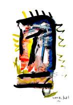 """""""o. T."""" 12 / Werkverzeichnis 1.692 / datiert 20.08.98 / Tusche und Aquarell auf Papier / Maße b 30,0 cm * h 42,0 cm"""