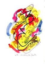 """""""o. T."""" 2, WVZ 1.037 / datiert 10.10.96, Tinte und Filzstift auf Papier, Maße b 18,0 cm * h 24,0cm"""