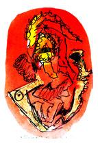 """""""Einheit 2"""", WVZ 1.026, / datiert 03.10.1996 / Filzstift und farbige Tinten auf Bütten / Größe b 10,0 cm * 16,0 cm"""