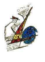 """""""Euro-Camp Groß-Leuthen"""" WVZ 1.010 / datiert 14.07.96 / Filzstift und Bleistift auf Papier / Maße b 12,0 cm * h 16,0 cm"""