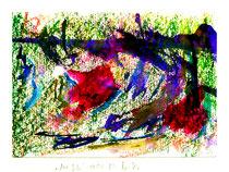 """""""Mit Lila"""" Isny, 11/1991, Werkverzeichnis 191, Kohle, Kreide und Tinte auf Papier auf Papier, b 40,0 cm * h 30,0 cm"""
