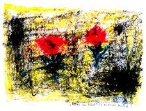 """""""Rosen im Nebel II"""" Isny, den 22.11.1991, Werkverzeichnis 241, Tusche, Tinte, Ölkreide, Lacke auf Papier, b 40,0 cm * h 30,0 cm"""