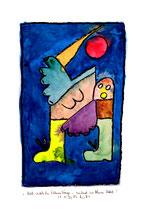 """""""Noch weiblicher Fahnenträger - suchend im blauen Nebel"""", Werkverzeichnis 1.215. Datiert 28.12.96. Kohle und Aquarell auf Papier. Größe b 30,0 cm * h 40,0 cm."""