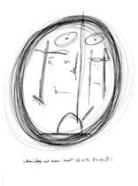 """""""Betonköpf mit einem Hut"""", WVZ 1.096 / 08.11.96 / Kohle und Filzstift auf Papier / Größe b 24,0 cm * 32,0 cm"""
