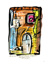 """""""Jäh zerrissener Vorhang gibt Bühne frei, bei blauem Tod!"""" / WVZ 2.996 / Bad Saarow, 19.07.00 / Aquarell und Tusche auf Papier / Maße 21,0 cm * h 29,7 cm"""