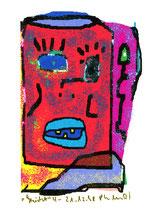 """""""Gesicht"""" 4 / Werkverzeichnis 1.820 / datiert 21.12.98 / PC-Zeichnung als Tintenstrahldruck auf Papier / Maße 10,5 cm * 15,0 cm"""