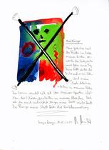 """""""Nachtfinger"""" / Sayalonga, 14.05.2014 """"Sprechbild"""" mit vorstehendem Text. Original Grafik mit Tusche, Aquarell, Bleistift und Text auf Papier. B 21,0 cm * H 29,7 cm Werkverzeichnis 4189"""