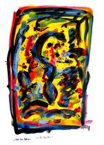 """""""Nach dem Rotwein"""" - 4. Arbeit einer Serie von 7 Arbeiten - WVZ 3.660 / datiert 2004 Ölkreide, Aquarell und Tusche auf Papier / Maße b 42,0 cm * h 59,4 cm"""