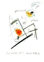 """""""Eine Seele löst sich I"""", Werkverzeichnis 572, vom 10.10.1995, Bleistift, Zigarre und Spülmittel auf Papier, Größe b 21,0 cm * h 29,7 cm"""