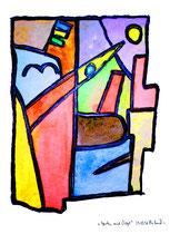 """""""Garten mit Vogel"""" / Werkverzeichnis 1.597 / datiert 29.05.98 / Kohle, Aquarell und Kreide auf Papier / Maße b 30,0 cm * 40,0 cm"""