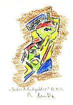 """""""Österreich hat gewählt"""" 1 WVZ 1.053 / datiert 13.10.1996 / Kreide auf Aquarellpappe / Größe jeweils b 11,6 cm * 16,0 cm"""