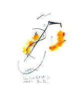"""""""Eine Seele löst sich IV"""", Werkverzeichnis 575, vom 10.10.1995, Bleistift, Zigarre und Spülmittel auf Papier, Größe b 21,0 cm * h 29,7 cm"""