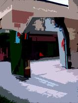 """""""Espelkamp geht durch die Mitte"""" J / Fotoveränderungen der verschiedenen Tore in Espelkamp als Tintenstrahldruck auf Fotopapier / Werkverzeichnis Nachträge / datiert 08.2002 / Maße b 21,0 cm * 29,7 cm"""