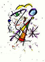 """""""Urknall"""" Werkverzeichnis 764, 21.10.1995, Aquarell und Textilfarbenfilzstifte auf Papier, Größe b 30,0 cm * h 40,0 cm"""