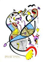 """""""Gedankeninfarkt"""" / Werkverzeichnis 2.006 / datiert Bad Sobernheim am 29.03.99 / Farbzeichnung Textilfarbe und Filzstift auf Papier / Maße b 21,0 cm * h 29,7 cm"""