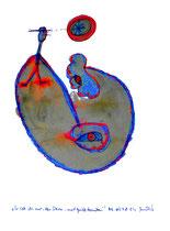 """""""Er sah ihn nur, den Stern, und griff daneben!"""" / Werkverzeichnis 1.721 / datiert 08.09.98 / Asche, Filzstift und Farben auf Papier / Maße 29,4 cm * 42,0 cm"""