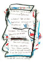 """""""Ich haße Hüte"""" - WVZ 1.087 / 08.11.1996 / Kohle, Filzstift, Text auf Papier / b 24,0 cm * 32,0 cm"""