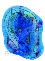 """""""Einheitsbrei 1"""" - Durch Wasser beschädigt - Werkverzeichnis 1.022 / 03.10.1996 / Div. Farben, Bleistift, Filzstift und Tinte auf Papier. b 18,0 cm, h 18,0 cm."""
