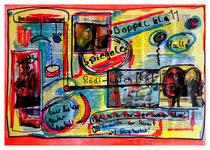 """""""Die Würde der Kunst ist angetastet"""" / Werkverzeichnis 1.631 / datiert 7/98 / Spiegelzeitschrift Doppelblatt versehen mit Farben und Text / Maße b 29,7 cm cm * h 42,0 cm"""