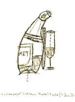 """""""Champagne"""" / Werkverzeichnis 1.735 / datiert 07.10.98 / Filzstift auf Papier / Maße b 20,6 cm * h 27,8 cm"""