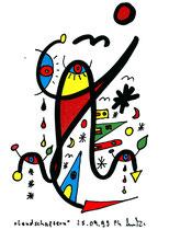"""""""Landschaftern 2"""", WVZ 552, datiert 25.09.1995, Textilfarbe auf Aquarellpapier, b 10,5 cm * h 14,7 cm"""
