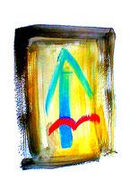 """""""Nach oben"""" / Werkverzeichnis 3.070 / datiert Göhrde, 14.08.2000 / Aquarell und Tusche auf Papier / Maße b 42,0 cm * h 59,4 cm"""