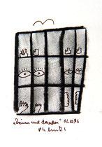 """""""Drinnen und draußen"""" WVZ 1.167 / datiert 02.12.96 / Kohle und Filzstift auf Bütten / Maße b 10,0 cm * h 16,0 cm - verschollen"""