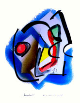 """""""Komposition 2"""", WVZ 871, datiert 02.12.1995, Aquarell, Sprühlack und Filzstift auf Papier, jew. b 30,0 cm * h 40,0 cm"""