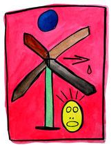 """""""Unter blauer Sonne gelbes Ei ausbrütender Wegweiser"""" WVZ 1.219 / datiert 30.12.96 Kohle und Aquarell auf Pappe b 30,0 cm * 40,0 cm"""