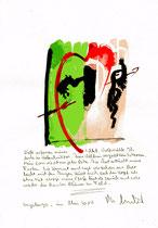"""""""Wölfe"""" / Sayalonga, im Mai 2014 """"Sprechbild"""" mit vorstehendem Text. Original Grafik mit Tusche, Aquarell, Bleistift und Text auf Papier. B 21,0 cm * H 29,7 cm Werkverzeichnis 4171"""