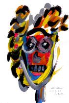 """""""Selbstbildnis"""" 4 / WVZ 3.248 / datiert Wiesmoor, 11.12.00 / diverse Farben auf Papier / Maße b 30,0 cm * h 42,0 cm - verkauft an Karin und Cees aus Holland (Casa Louisa) -"""