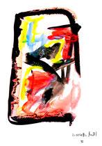 """""""o. T."""" 15 / Werkverzeichnis 1.695 / datiert 20.08.98 / Tusche und Aquarell auf Papier / Maße b 30,0 cm * h 42,0 cm"""