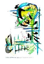 """""""Es können auch Frühlingszeiten gewesen sein - 1"""" Gestringen, 23.02.1997, Werkverzeichnis 1286, Filzstift und Aquarell auf Papier, b 30,0 cm * h 40,0 cm Als Vergleich ein Sprung von 5 Jahren 1. einer Serie von 4 Bildern"""