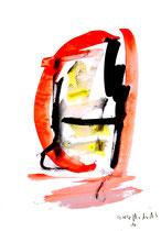 """""""o. T."""" 16 / Werkverzeichnis 1.696 / datiert 20.08.98 / Tusche und Aquarell auf Papier / Maße b 30,0 cm * h 42,0 cm"""