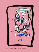 """""""Gedankenausbruch 1"""" Werkverzeichnis 1.926 / datiert Boddin, 13.02.99 / diverse Farben auf rötlichem Papier / Maße b 29,7 cm * h 42,0 cm"""
