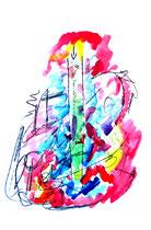 """San Franzisko"" / WVZ 984 / datiert 08.05.96 / Filzstift, Kohle, Aquarellfarben auf Papier / b 36,0 cm * h 48,0 cm"