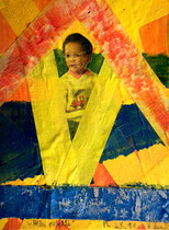 """""""Alles paletti - Landschaft mit Kind"""" Gestringen, 25.10.1987, Werkverzeichnis 88, Kinderbild, Klebebänder, Farbe auf Pappe, b 14,0 cm x h 18,2 cm"""