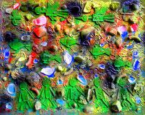 """""""o. T."""" (Wasserschaden) Gestringen, 23.10.1987, Werkverzeichnis 86, Materialien, Farben auf Pappe, b 40,5 cm x h 38,0 cm"""