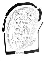 """""""Schädel-Hirn-Trauma"""", 12/95 / WVZ 869 Filzstift und Tusche auf Papier (mit Einband und Text), b 30,0 cm * h 40,0 cm"""