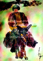 """""""Korse III"""" Drittes Bild einer Serie von 6 Drucken vom Pappe-Druckstock, Gestringen, den 18.04.1992, Werkverzeichnis 285, Farbdruck auf Papier, b 37,7 cm * 50,0 cm"""