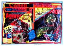 """""""Rudi würgt"""" / Werkverzeichnis 1.628 / datiert 7/98 / Spiegelzeitschrift Doppelblatt versehen mit Farben und Text / Maße b 29,7 cm cm * h 42,0 cm"""