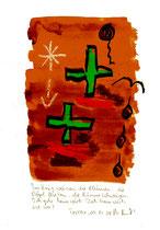 """""""Im Krieg weinen die Blumen / Torrox, 04.12.2008 / """"Sprechbild"""" mit Text als Original Grafik mit Aquarellfarben, Ölkreide, Bleistift und Text auf Papier / B 21,0 cm * H 29,7 cm / Werkverzeichnis Nachträge"""