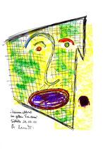 """""""Daumenabdruck im gelben Freiraum"""" / WVZ 3.398 / datiert 29.10.01 / Kreide, Textilfarbe und Aquarell auf Papier / Maße b 21 cm * h 29,7 cm"""