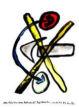 """""""Rote und Grüne Sonnen brechen Rechtswind!"""" / Werkverzeichnis 1.644 / Datiert Bad Sobernheim, 22.07.1998 / Aquarell und Tusche auf Papier / Maße b 42,0 cm * h 56,0 cm"""