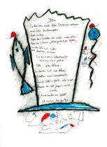 """""""Alt"""" - WVZ 1.086 / 08.11.1996 / Kohle, Filzstift, Text auf Papier / b 24,0 cm * 32,0 cm"""