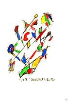 """""""o. T. 4"""" , WVZ 1.001 / datiert 30.06.96 / Filzstift und Aquarellfarben auf Papier / Maße b 12,0 cm * h 16,0 cm"""