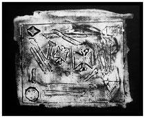 """""""o. T"""" Gestringen, 02.91, Werkverzeichnis 183, Linoldruck weiß auf Papier, b 50,0 cm x h 35,0 cm"""