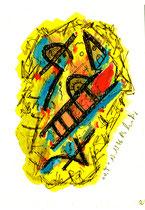 """""""o. T."""" 2, WVZ 1.056 / datiert 13.10.96 / Filzstift und Aquarell auf Aquarellpappe / Maße b 12,0 cm * h 16,0 cm"""