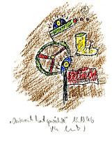 """""""Österreich hat gewählt"""" 2 WVZ 1.054 / datiert 13.10.1996 / Kreide auf Aquarellpappe / Größe jeweils b 11,6 cm * 16,0 cm"""